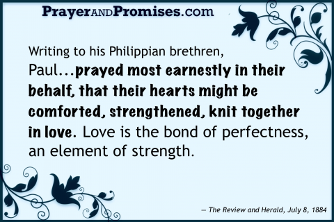 INTERCESSORY PRAYER, Pray earnestly in their behalf , writing philippian brothers brethren, prayed earnestly their behalf, hearts night be comforted strengthened knit together in love bond of perfectness,  element strength