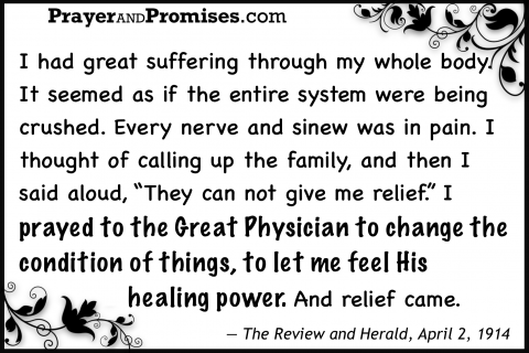 Health healing Suffering body crushed nerve pain, not give relief, prayed Great Physician change condition of things, feel His healing power relief came