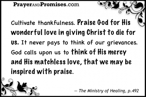 Praise thanks, cultivate thankfulness, wonderful love giving Christ to die, think of His mercy matchless love, inspired